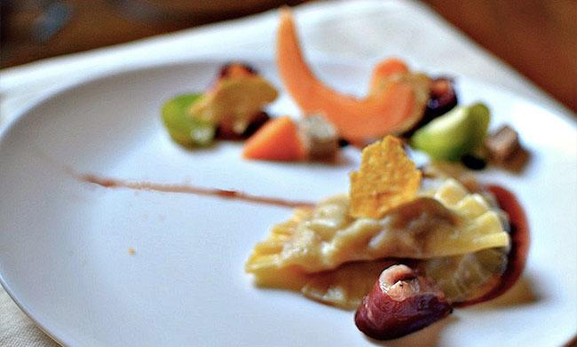 Ravioles Melon-Foie Gras au Magret Fumé
