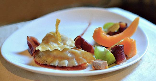 Ravioles Melon Foie-Gras Magret Fumé