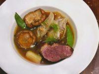 Canard en bouillon épicé Ravioles Gingembre Shiitake