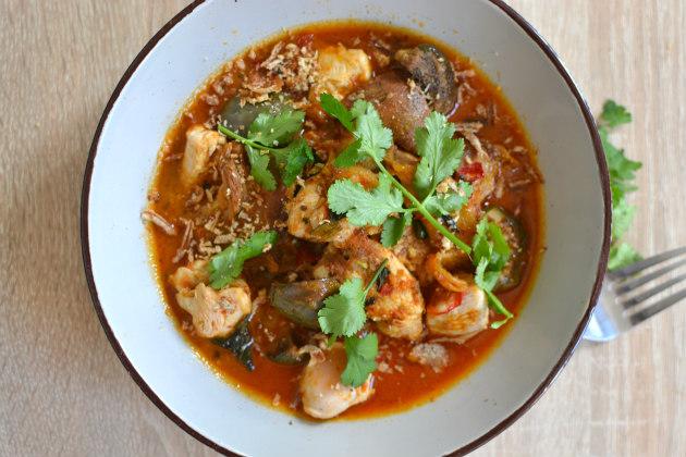 Recette poulet au curry rouge