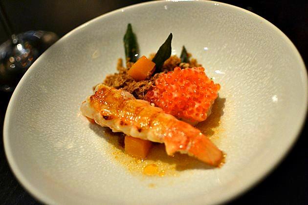 Rijks Restaurant Joris Amsterdam - Langoustine Epeautre oeufs de truite curry