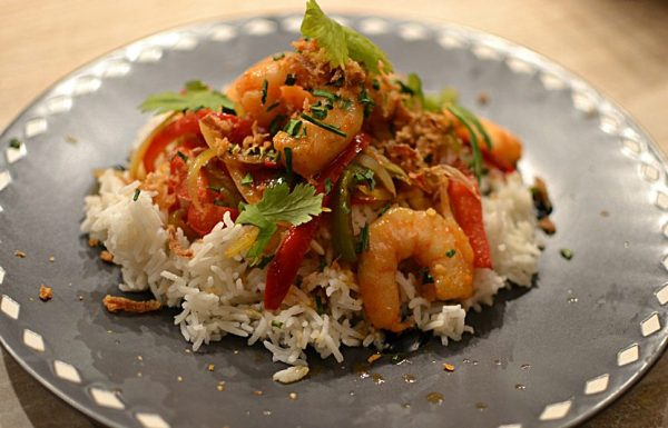 Crevettes sautees a la ciboulette façon thaï