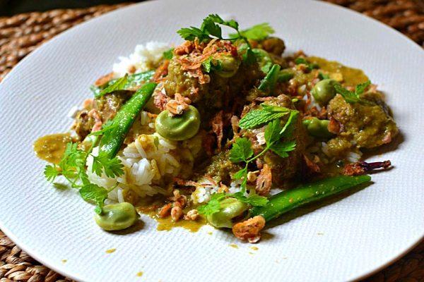 Curry vert d'agneau à la menthe et légumes verts