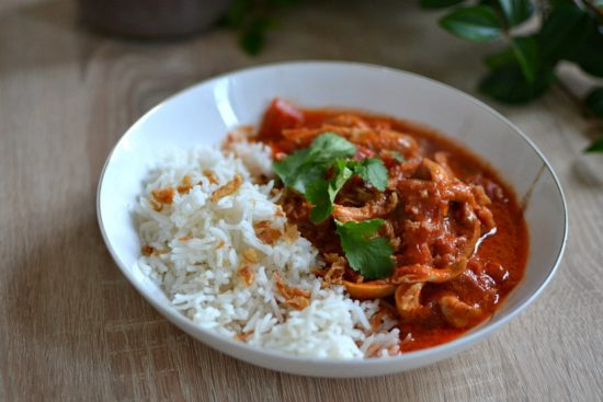poulet au curry tomates lait de coco