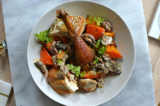 Poulet roti foie gras champignons potimarron recette