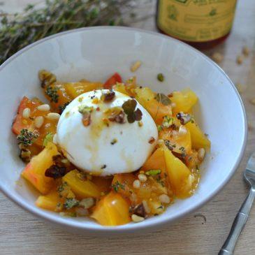 Burrata au miel et aux fruits secs : la recette