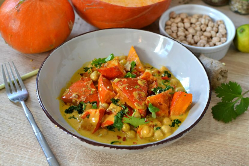 Curry potimarron pois chiche recette facile