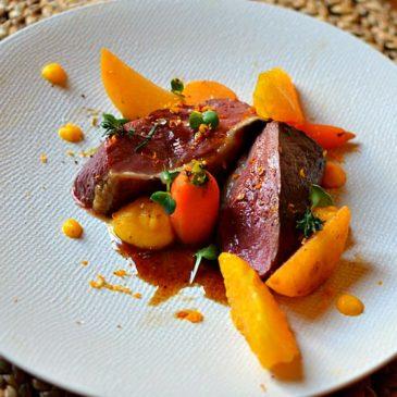 Magret de canard à l'orange gastronomique et navet boule d'or