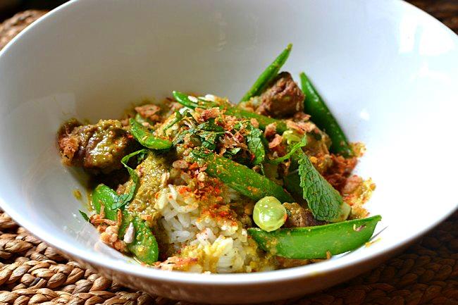 Curry vert d'agneau à la menthe