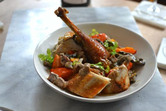 Poulet roti au foie gras champignons potimarron