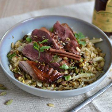 Magret de canard au miel et aux épices : sucré-salé-épicé et délicieux !